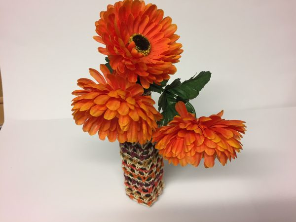 Flaschenvase Upcycling Handarbeitseckle
