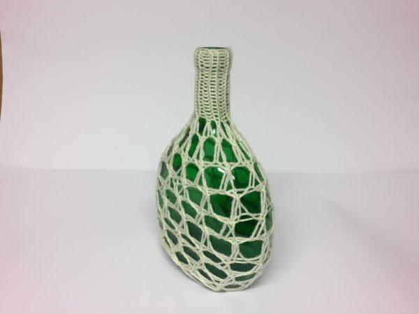 Flaschenvase Upcycling Handarbeitseckle
