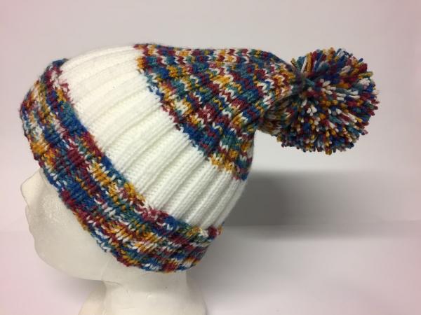 Mütze mit Bommel gestrickt Handarbeitseckle