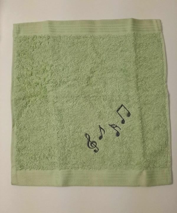 Handtuch bestickt Noten Handarbeitseckle