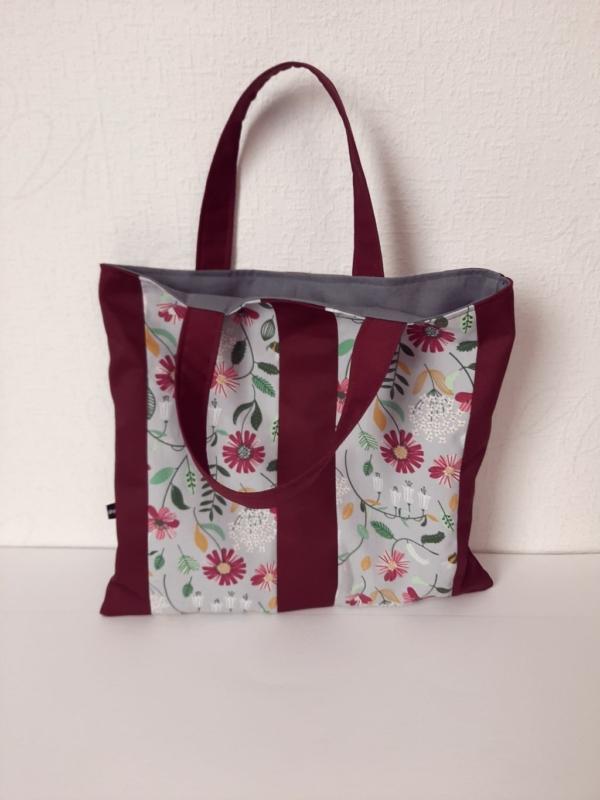 Tasche flower burgund, gefüttert, Handarbeitseckle